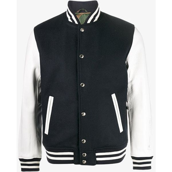 Sophnet. Classic Varsity Jacket ($1,485) ❤ liked on Polyvore featuring men's fashion, men's clothing, men's outerwear, men's jackets and mens leather jackets
