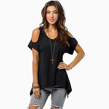 Γυναικεία T-shirt Φούντα Ώμοι Έξω / Στρογγυλή Λαιμόκοψη Κοντομάνικο Βαμβάκι 2016 – €9.79