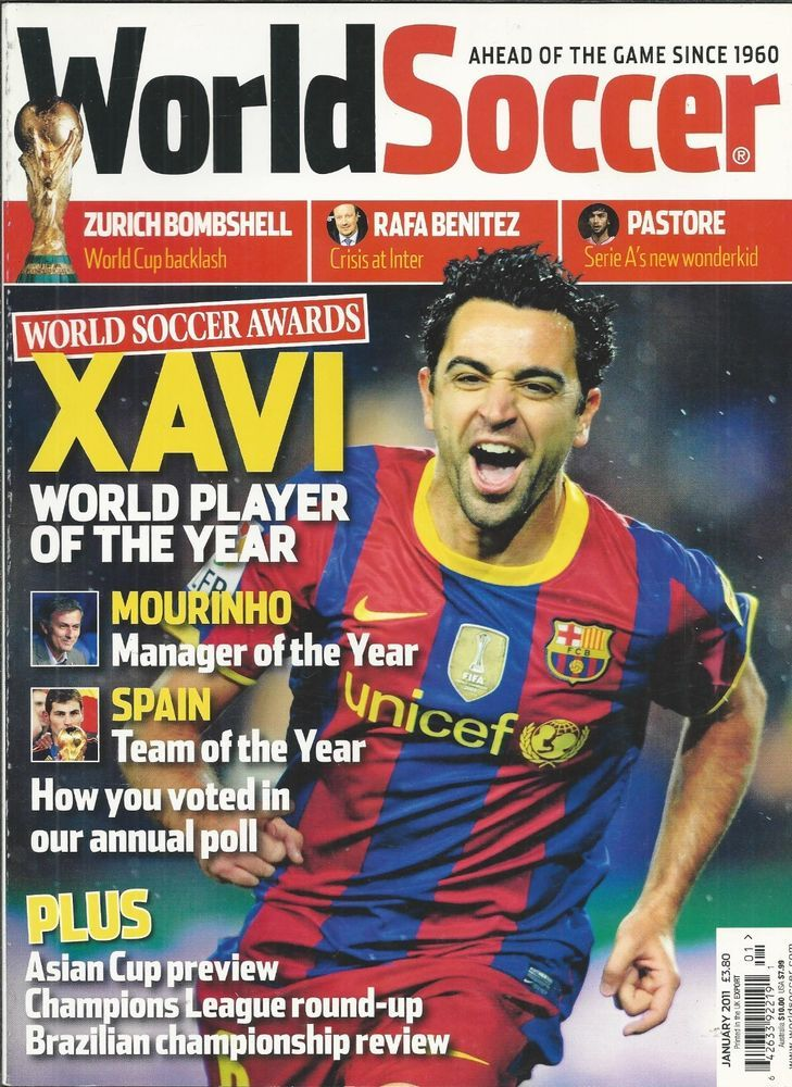 World Soccer magazine Xavi Barcelona South Korea Juan Mata Montevideo Fluminese