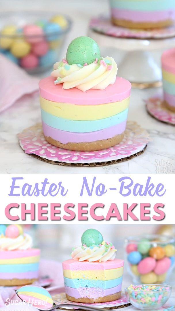 Easter No-Bake Mini Cheesecakes