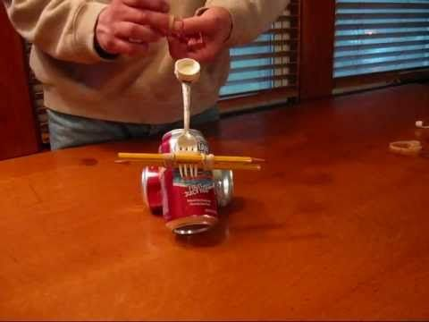 Easy And Simple Catapult Made Of Soda Cans Rubber Bands