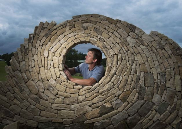 Stonemason Johnny Clasper creating a new dry stone wall sculpture inreadiness for the 2014 Great Yorkshire Show