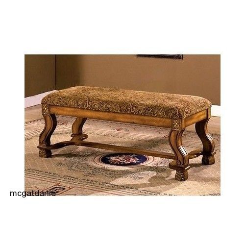 Brown Antique Oak Vanity Bench Ottoman Chair Foot Stool Bedroom Furniture Bed #Mediterranean
