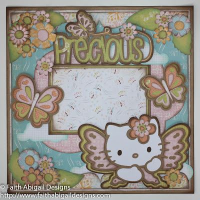 """Faith Abigail Designs - Hello Kitty Butterfly 12""""x12"""" Single Page Layout - Cricut cartridges: Elise, Hello Kitty Font, Once Upon a Princess, Home Accents, Serenade, Artiste, and Sweet Treats"""