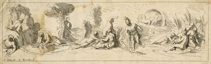 Jan van Bruggen/Raymond Lafage/Cornelius Vermeulen: Dva antické výjevy (Narcis a Echó, Aiás), konec 17. století