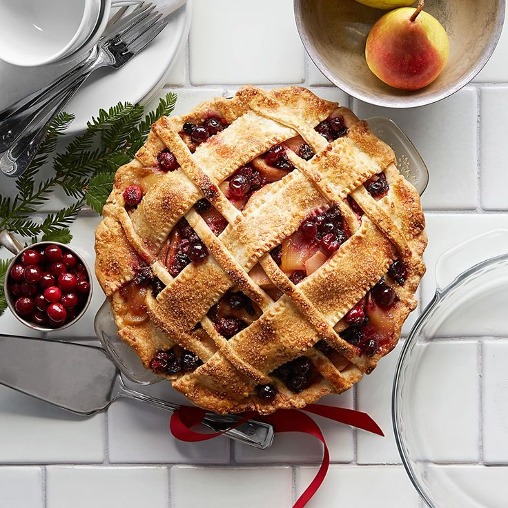 A mixture of pears and bright red cranberries make a colorful filling for this winter pie.