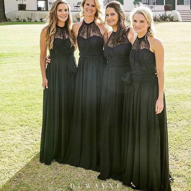Black Chiffon Lace Halter Bridesmaid Dresses,Long Bridesmaid Dresses,apd2489