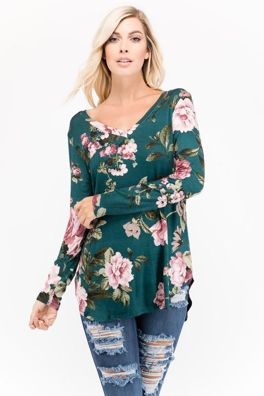 2922bb41e3 Long Sleeve Floral Top V-Neck Top Floral Shirt Women's Clothing Boutique  Shopping women's tops casual spring outfits. XL top for ladies and plus  size ...