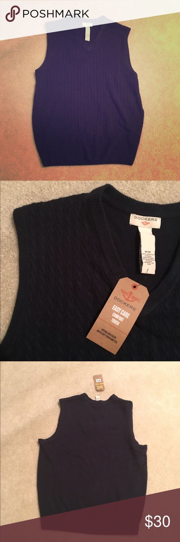 Men's Sweater Vest Navy men's sweater vest NWT and never been worn! 100% acrylic Dockers Jackets & Coats Vests