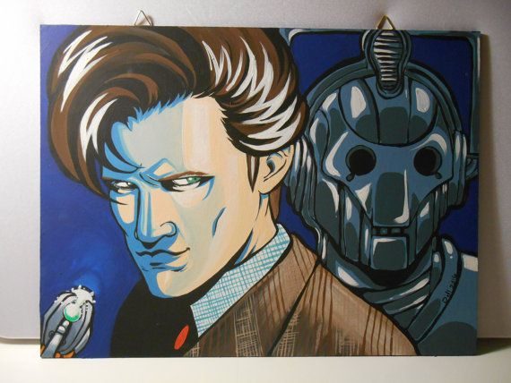 Doctor Who eleventh doctor and Cyberman  Canvas 30x40 by grimNglam