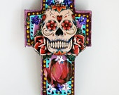 Day of the Dead Skull on wood plaque / RAINBOW sugar skull/ Mexico Dia de los Muertos / ooak wall art home decor. $22.00, via Etsy.: Days, Sugar Skull, Of The, Dead Skull, Day Of The Dead, Dead Dia De, Dead, Wood Plaque, Cross
