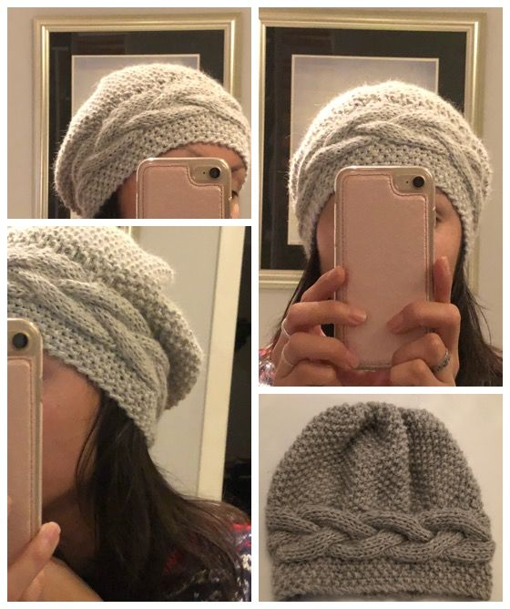 Baggy lue med flette. Baggy hat with braid
