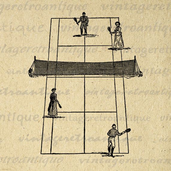 Antique Tennis Digital Printable Image Vintage Tennis Court and Tennis Players Download Graphic Jpg Png Eps 18x18 HQ 300dpi No.4254 @ vintageretroantique.etsy.com #DigitalArt #Printable #Art #VintageRetroAntique #Digital #Clipart #Download