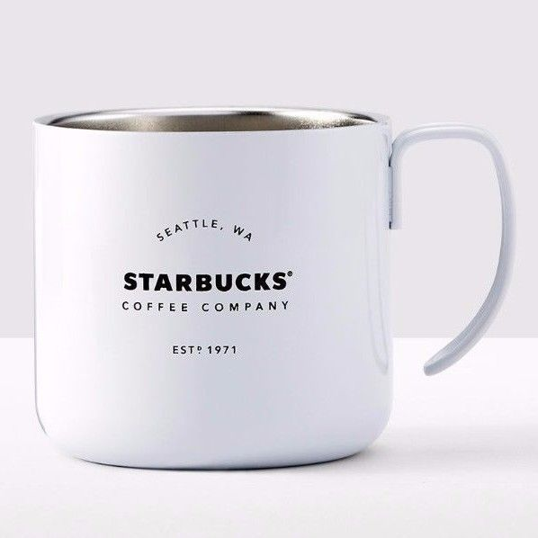 White Starbucks Stainless steel Coffee Company Handle Mug 12 Oz. for Camping New #Starbucks