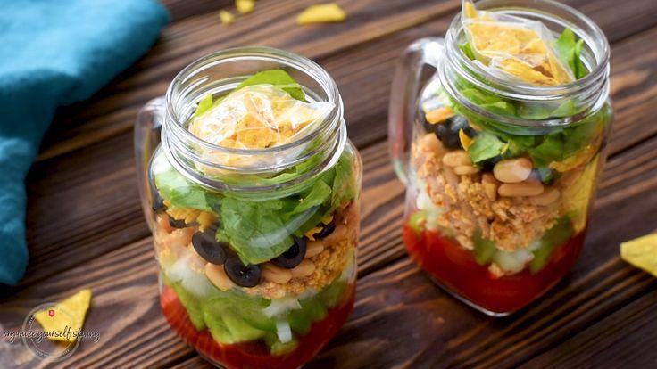 Dorito Taco Salad Lightened Up Salad In A Jar Recipe Salad Recipes Food Recipes Beef Taco Salad Recipe