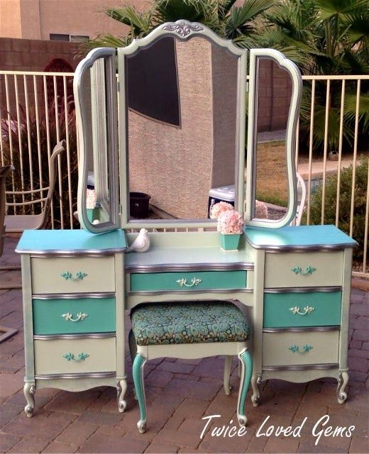 French Provincial Vanity Makeover By Twice Loved Gems - Featured On Furniture Flippin'