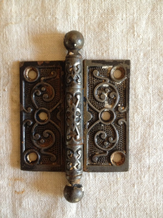 Vintage Antique Ornate Victorian Door Hinge 3 X 3