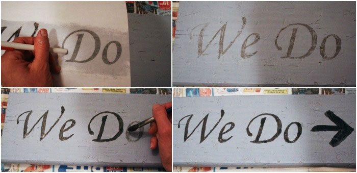 Создание надписи на табличке-указателе для свадьбы
