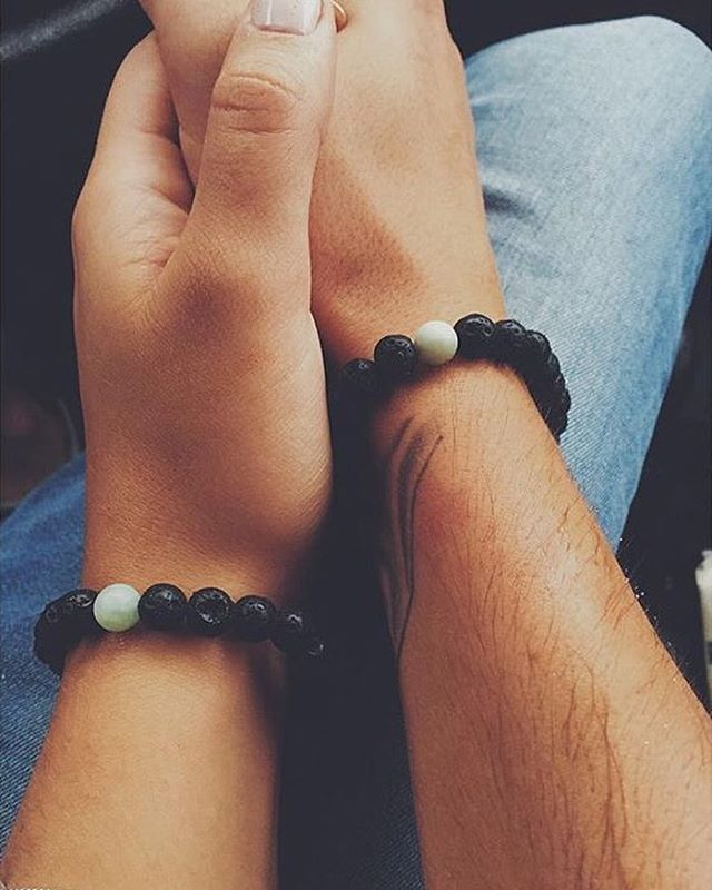 Couple Matching Gemstone Bracelets - Lava Stone/Lava Rock & Amazonite. Love/Friendship/Vibe