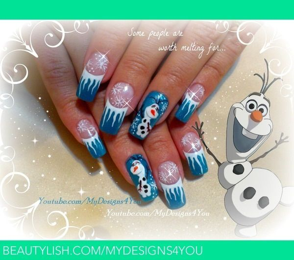 17 best olaf nails images on pinterest olaf nails frozen nail tutorial on disney frozen inspired olaf the snowman winter nails tuto by liudmila zacharova prinsesfo Images