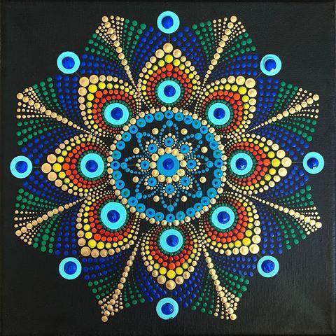 Peacock colors | Dot Mandalas | Dot art painting, Mandala