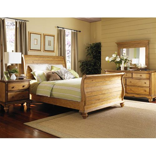 Hamptons weathered pine queen size sleigh bed hillsdale - King size sleigh bed bedroom set ...