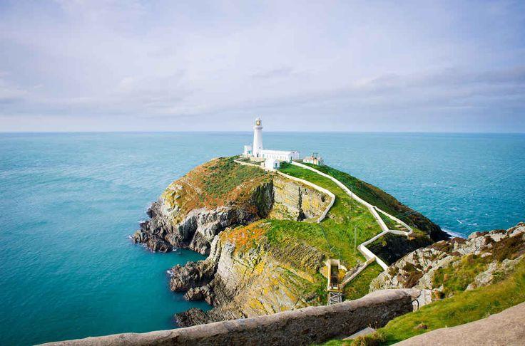 Der Leuchtturm vor türkisem Gewässer auf der Isle of Anglesey in Nordwales: