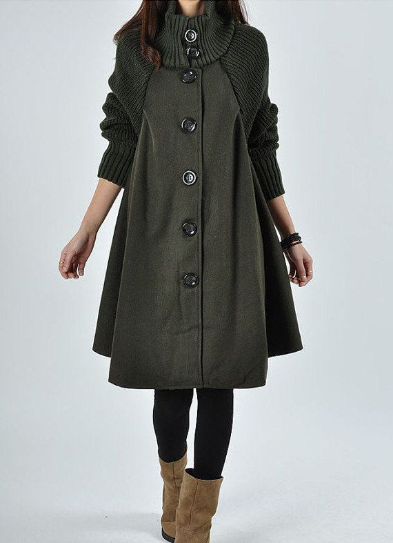 Green wool Princess style cape Hood Coat winter Jacket cute coat women coat winter coat
