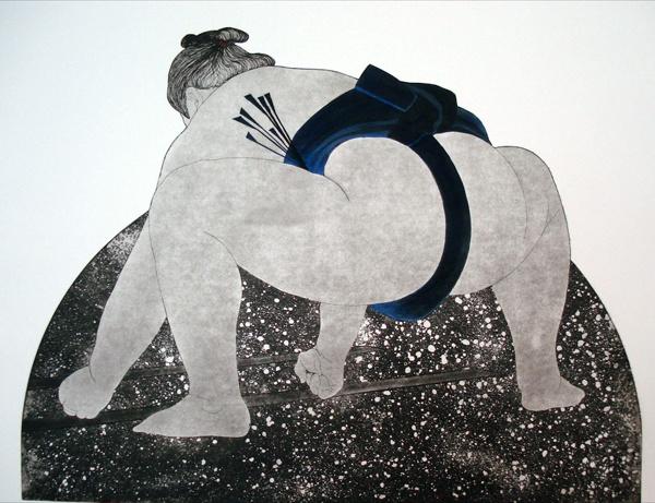 'Sumo' by British artist  printmaker Barbara Zalecki. via Greenwich Printmakers