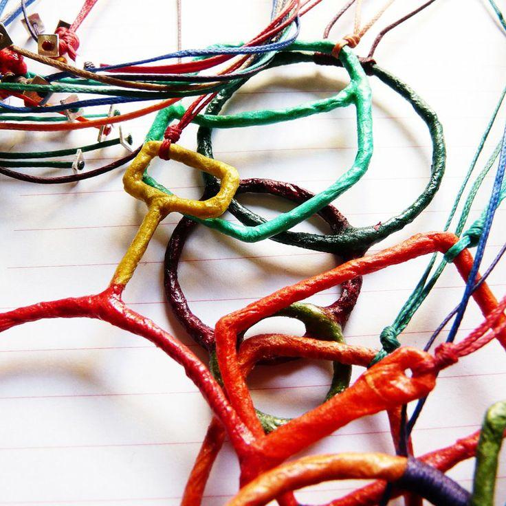 wire and silk-fiber-paper jewellery