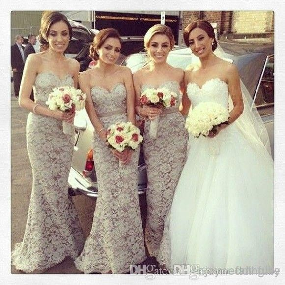 Sexy 2017 Mermaid Sweetheart Floor Length Gray Lace Long Bridesmaid Dresses Cheap Under 50 Wedding Party Dresses