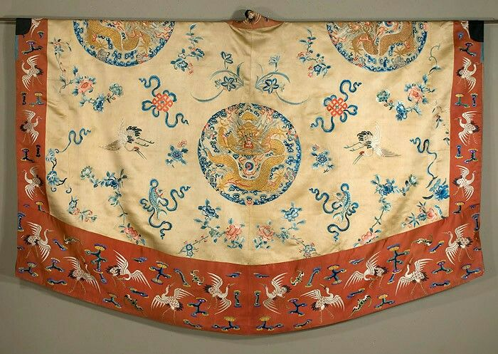 "Taoist Robe (chiang-i) China.  19th century  Silk satin robe with satin stitch embroidery and gold couching.   Dragon medallions.  74"" wide by 50""long. Back view."