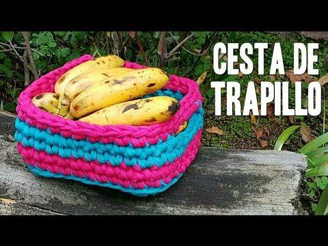 CESTA DE TRAPILLO RECTANGULAR | tutorial paso a paso · AHUYAMA CROCHET