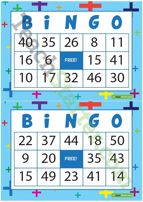 32 different bingo cards using addition and numbers from 0 ...