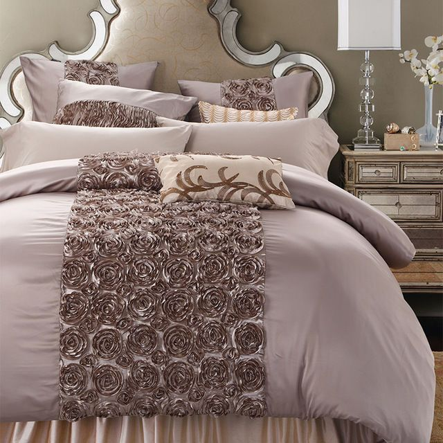 Rose Shaped Luxury Duvet Cover 6pcs Bedding Set King Queen Size Home Garden