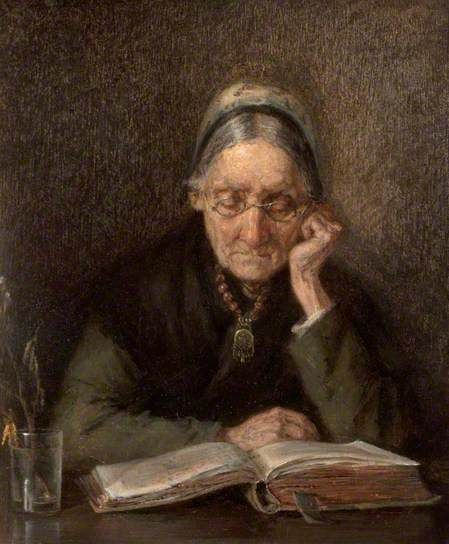 An Old Woman Reading, 1880-1900. Most sources say M Knoop, but National Inventory of Continental European Paintings attributes to August Hermann Knoop (German, 1856-1900).