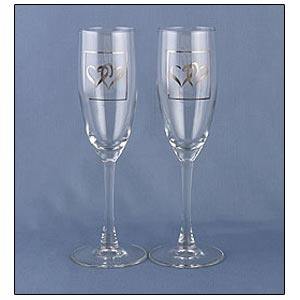 "Toasting Flutes (Linked at the Heart silver Collection) two 8.75"" tall, 6 oz."