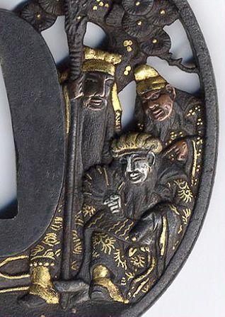the detail of Japanese sword guard, Tsuba, Edo period 鍔