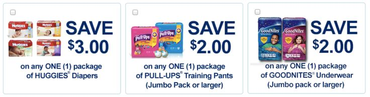 Diapers:  High Value Huggies, GoodNites & Pull-Ups Coupons!