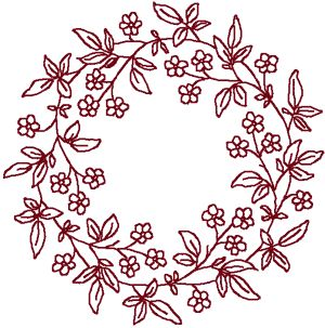 Redwork Forget-Me-Not Wreath Embroidery Design