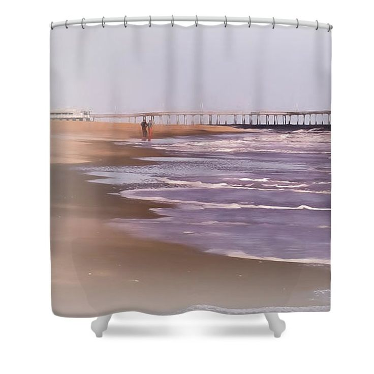 "Morning Jog On The Beach Shower Curtain by Leslie Montgomery.  This shower curtain is made from 100% polyester fabric and includes 12 holes at the top of the curtain for simple hanging.  The total dimensions of the shower curtain are 71"" wide x 74"" tall."