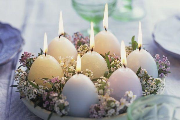 Herrlich softe Osterdeko mit Kerzen :-)