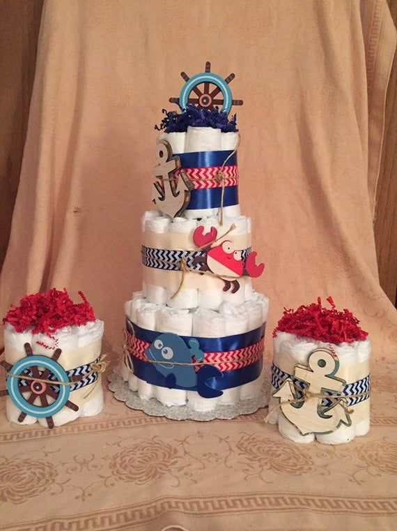 Fabulous 3 Tier Diaper Cake Baby Shower Centerpiece Chevron Nautical Ahoy Funny Birthday Cards Online Elaedamsfinfo