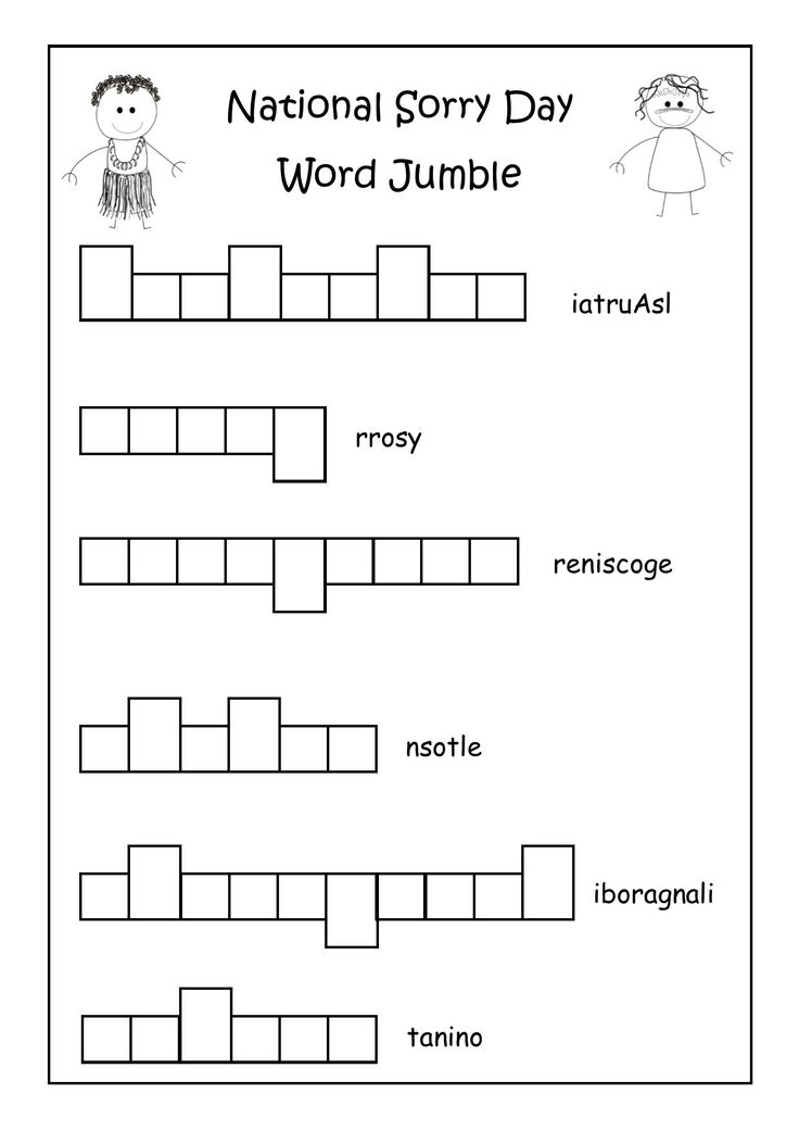 National Sorry Day Word Jumble