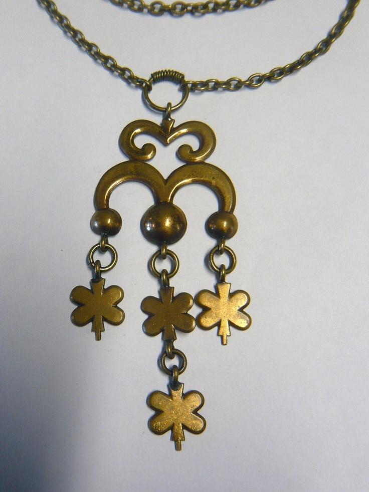 Kalevala Koru Finland Vintage Pendant with Chain Bronze