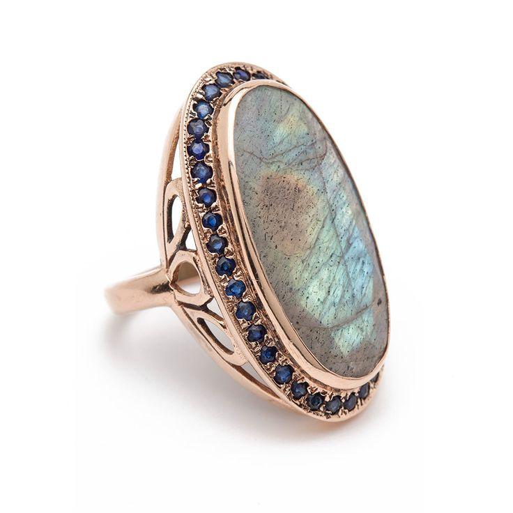 The Queen's Sceptre Ring - Labradorite – Arik Kastan Rose Gold