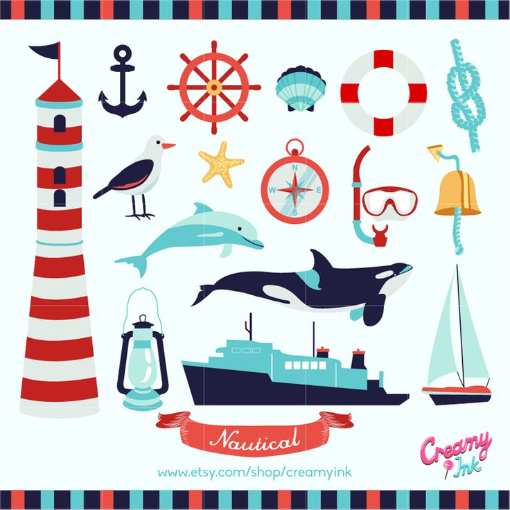 Nautical Digital Vector Clip art / Nautical Party Clipart ...