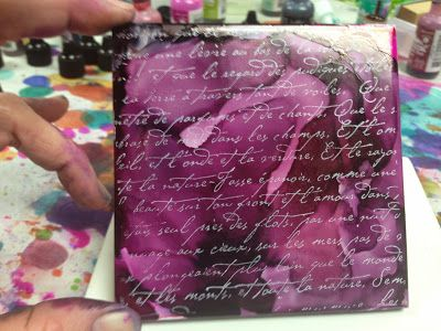 LOVE! alcohol inks on tiles from Home Depot.  from Inky Obsessions : Catching Up for Breast Cancer Awareness Month