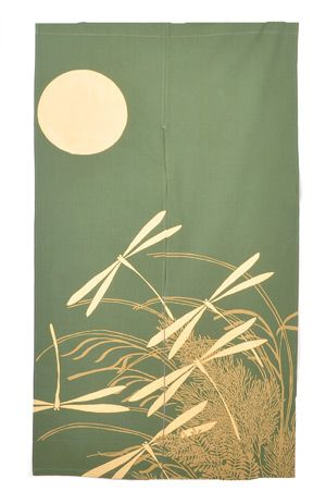 Noren-Haru-Green // Looks like this is one of the Japanese split doorway curtains. I love this design SO. MUCH.