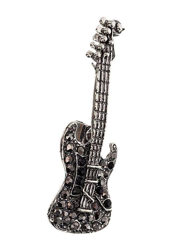 Brosa martisor in forma de chitara electrica acoperita cu pietricele multifatetate gri si negre pe suport metalic de culoarea argintului tibetan. Raspunde celor mai exigente gusturi! Saculet din organza de diferite culori CADOU!